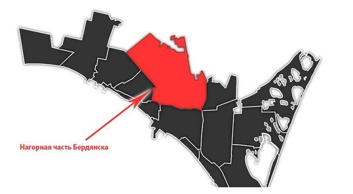 Расположения района на схеме города Бердянск